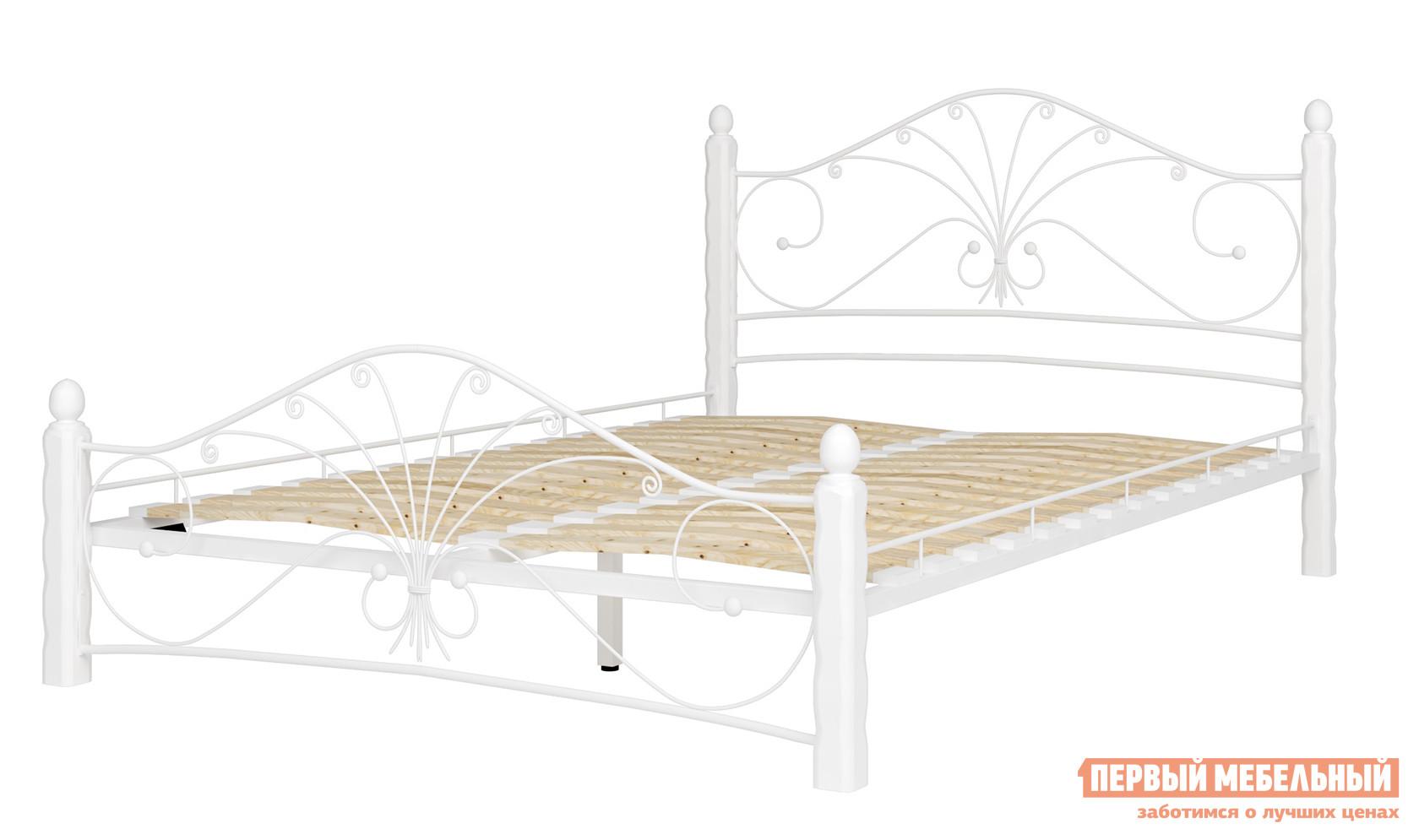 Полутороспальная кровать Mebwill Кровать Фортуна 1 Белый / Белый, Спальное место 1200 Х 2000 мм