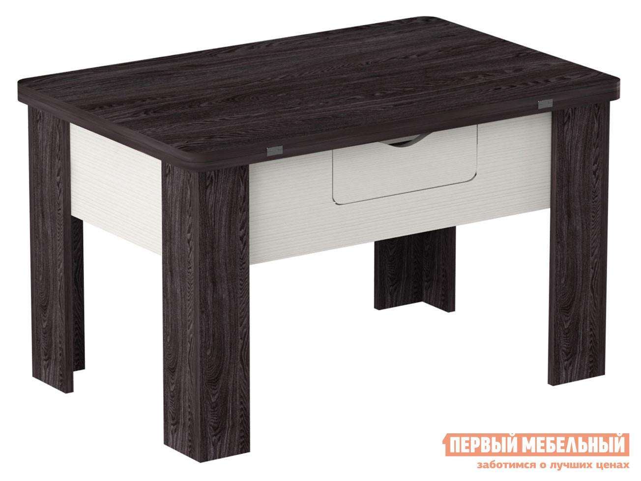 Журнальный столик  Стол трансформер Стэп 3 Ясень черный / Бодега белый Мебвилл 110434