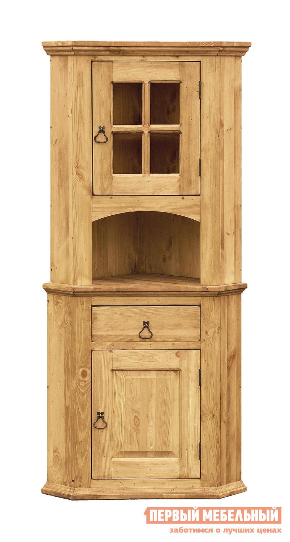 Буфет Волшебная сосна ROMEO ET JULIETTE (ROM/JUL ANG) Массив сосныБуфеты<br>Габаритные размеры ВхШхГ 1800x810x570 мм. Угловой шкаф-буфет, выполненный в стиле Прованс, станет полезным  и уютным дополнением практически в любой комнате или в загородном доме. Шкаф можно использовать под хранение сыпучих продуктов и варения на кухне, книг и посуды интерьера в гостиной, или игрушек и детских вещей в детской комнате. Модель состоит из двух частей: тумбы и верхней витрины. В тумбе за дверцей скрыта ниша с полкой, сверху располагается выдвижной ящик. Витрина имеет открытую полку с арочным вырезом и стеклянный шкафчик. Двери и фасад ящика дополнены коваными ручками-«грушами»Шкаф изготавливается полностью из массива сосны с эффектом старения, поверхность изделия не лакированная, она обработана воском. Обратите внимание! Часто поверхность дерева искусственно состаривается, наносятся потертости, небольшие сколы, а также древоточены.  Это не является браком, это делается специально в декоративных целях.<br><br>Цвет: Массив сосны<br>Цвет: Светлое дерево<br>Высота мм: 1800<br>Ширина мм: 810<br>Глубина мм: 570<br>Кол-во упаковок: 2<br>Форма поставки: В собранном виде<br>Срок гарантии: 1 год<br>Тип: Угловые