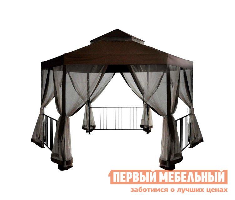 Шестигранный шатер для дачи с москитной сеткой Bigarden Braun