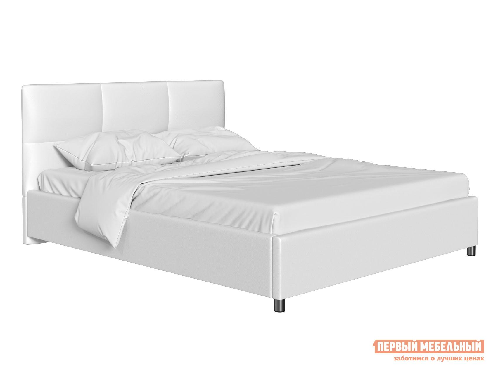 Двуспальная кровать Кровать с мягким изголовьем Агата Белый, экокожа , 180х200 см фото