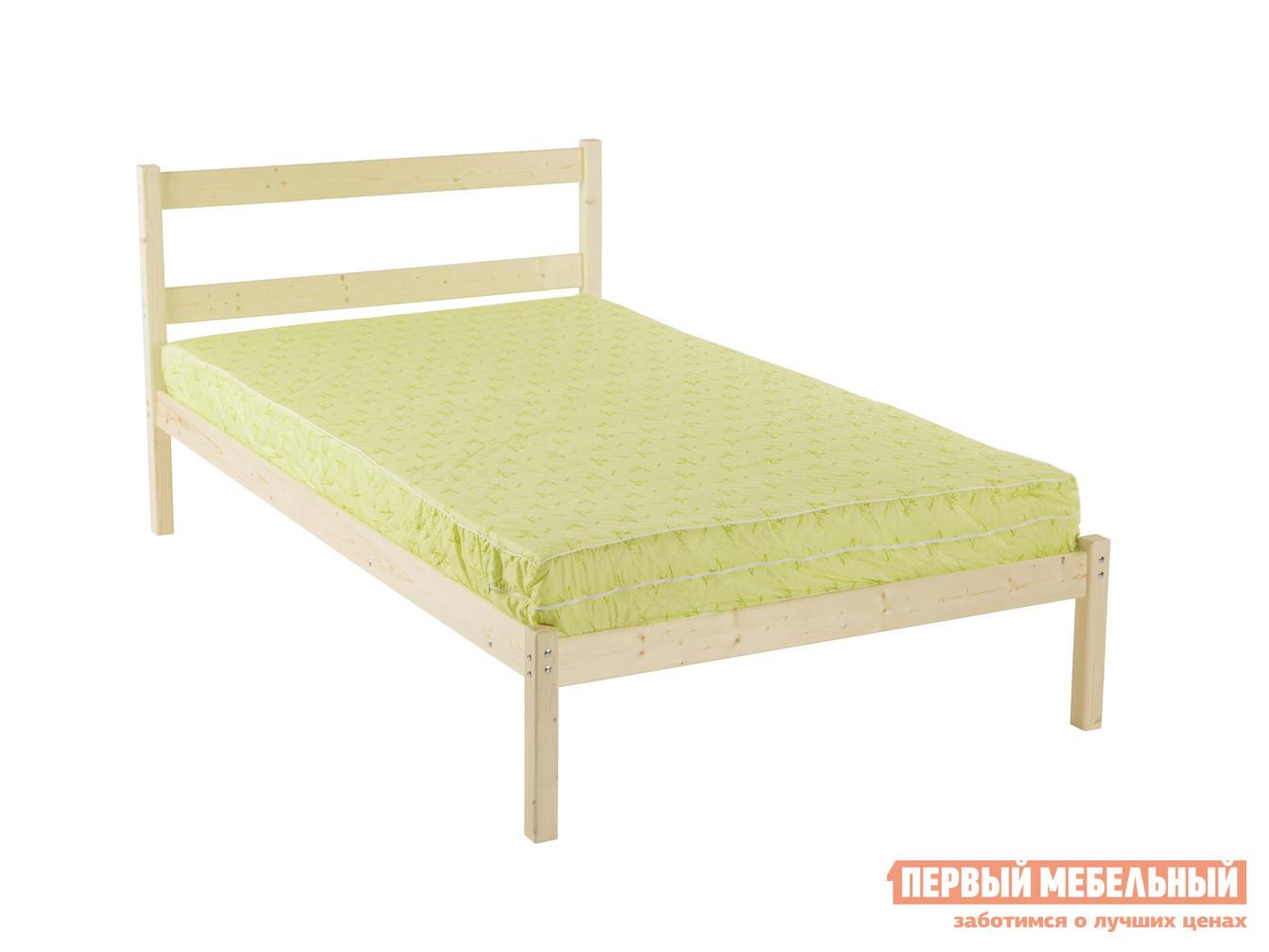Полутороспальная кровать Green Mebel Кровать одноярусная Т1 1400 Х 2000 мм, Натуральный