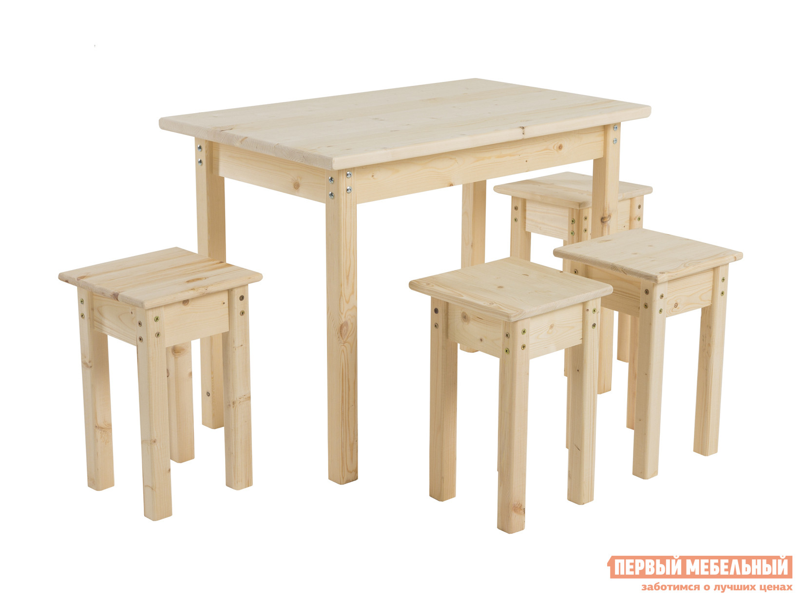 Комплект садовой мебели Green Mebel Стол со столешницей 600х1000х28 + Табурет 300х300х450 (4 шт) Натуральный