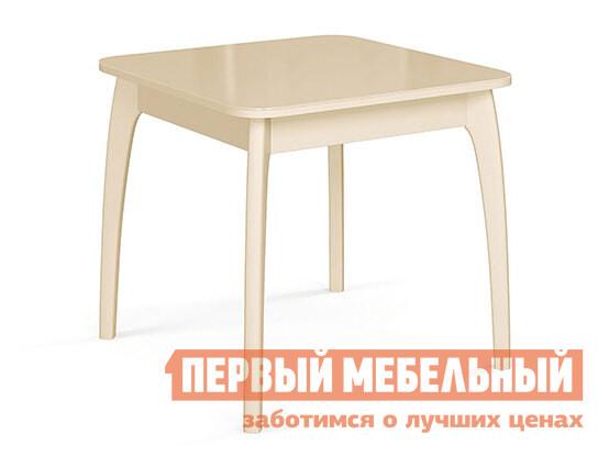 Кухонный стол Стол №45 ДН4 Слоновая кость / Стекло бежевое фото