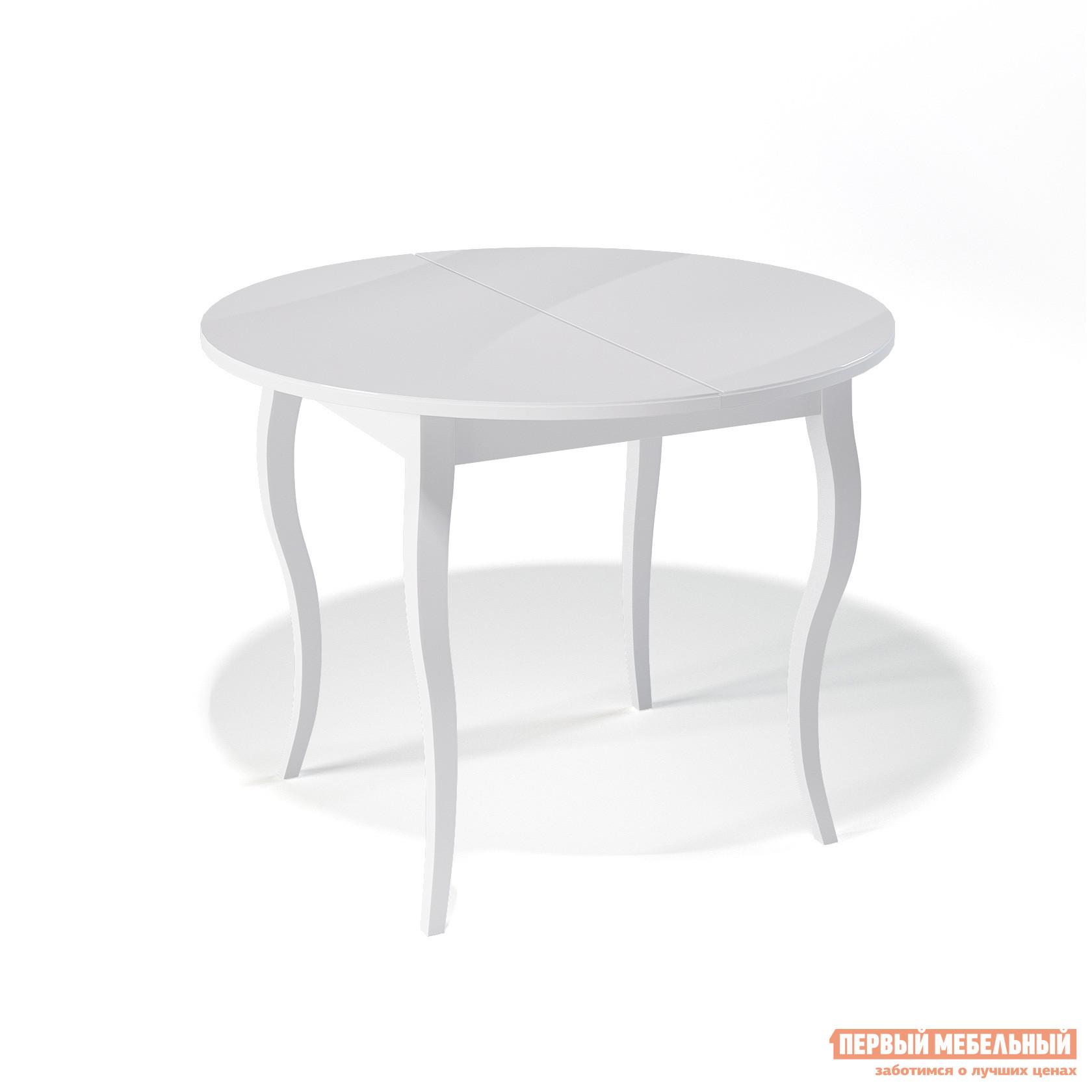 Кухонный стол ДИК KENNER 1000С Белый / Стекло белое