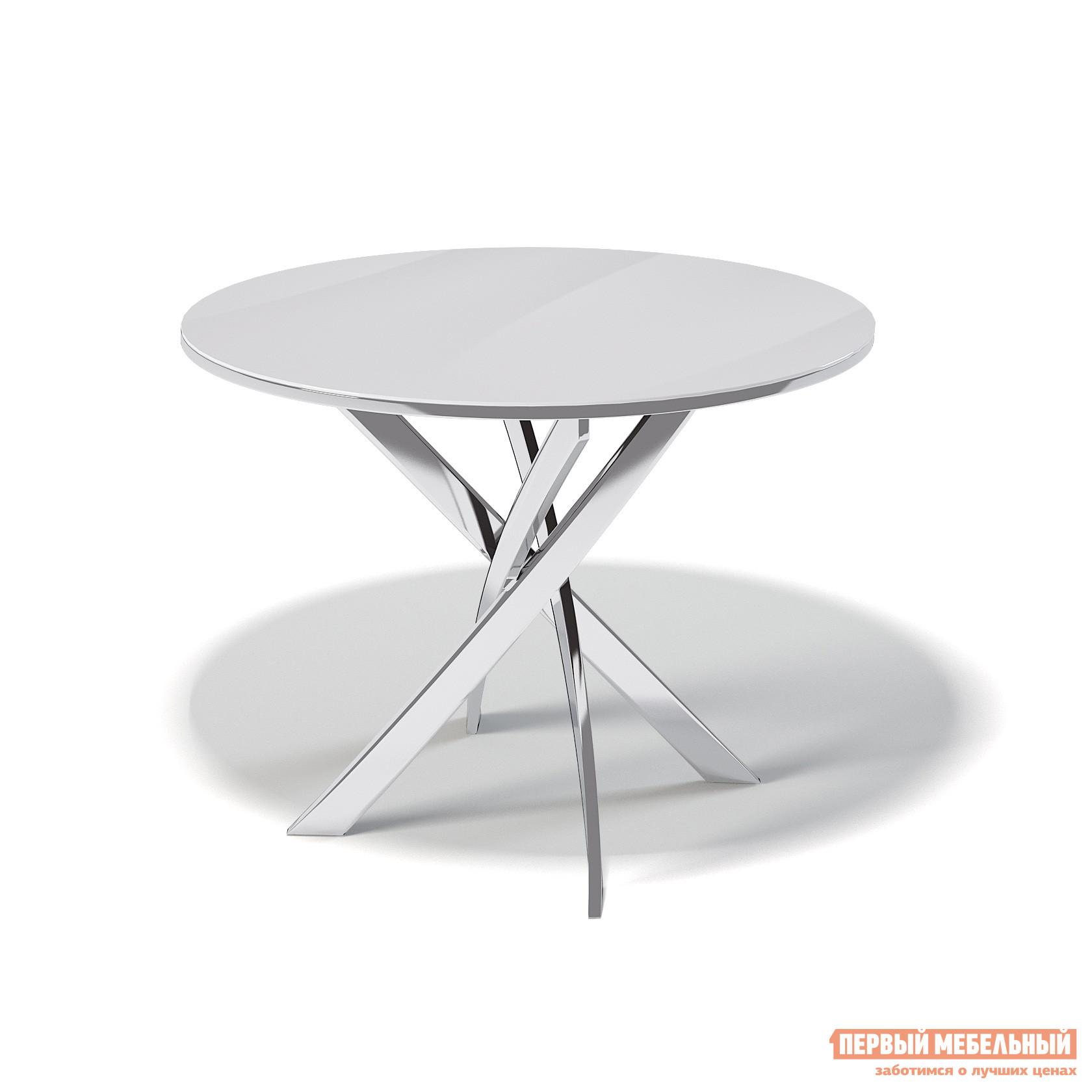 Кухонный стол ДИК KENNER R1000 Хром / Стекло белое