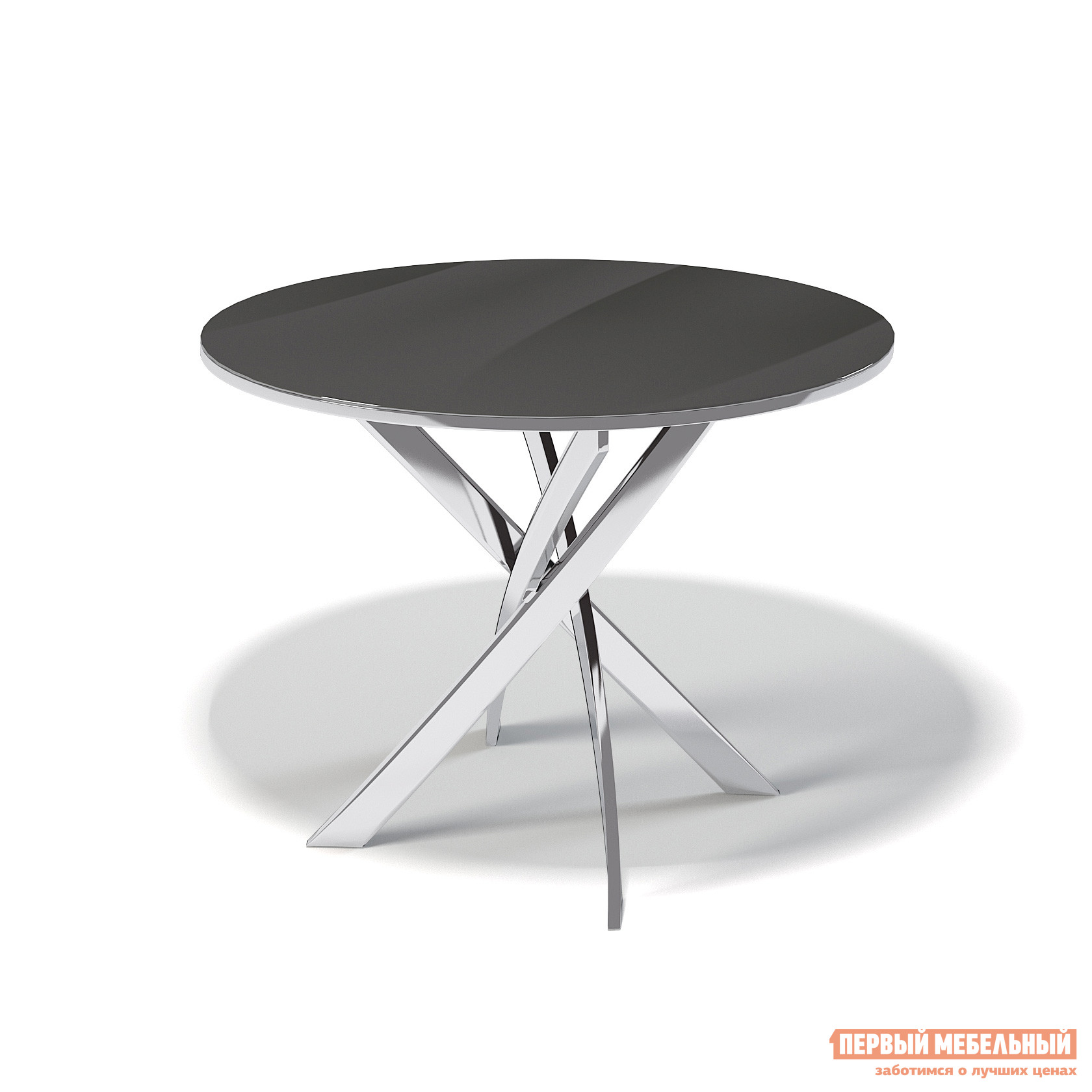 Кухонный стол ДИК KENNER R1000 Хром / Стекло черное ДИК Габаритные размеры ВхШхГ 750x1000x1000 мм. Модный и стильный обеденный стол с круглой стеклянной столешницей.  Особое внимание привлекают четыре серебристые ножки, оригинально переплетенные между собой, которые обеспечивают столу устойчивость.  Такая модель станет центральным элементом современного интерьера кухни или столовой зоны. <br>Столешница изготавливается из ударопрочного стекла толщиной 10 мм, которое устойчиво к воздействию влаги, холодных и горячих предметов, чистящих средств (кроме абразивных материалов).  В цветах «черный» и «белый» столешница оклеена плёнкой с обратной стороны.  Кромка — глянцевая, в цвет стола.  Стол выдерживает нагрузку до 60 кг. <br>Прочные ножки выполняются из стали толщиной 2 мм (внутри полые) с хромированным покрытием и оснащены регулировочными винтами, которые позволят скорректировать устойчивость стола на неровном покрытии. <br>