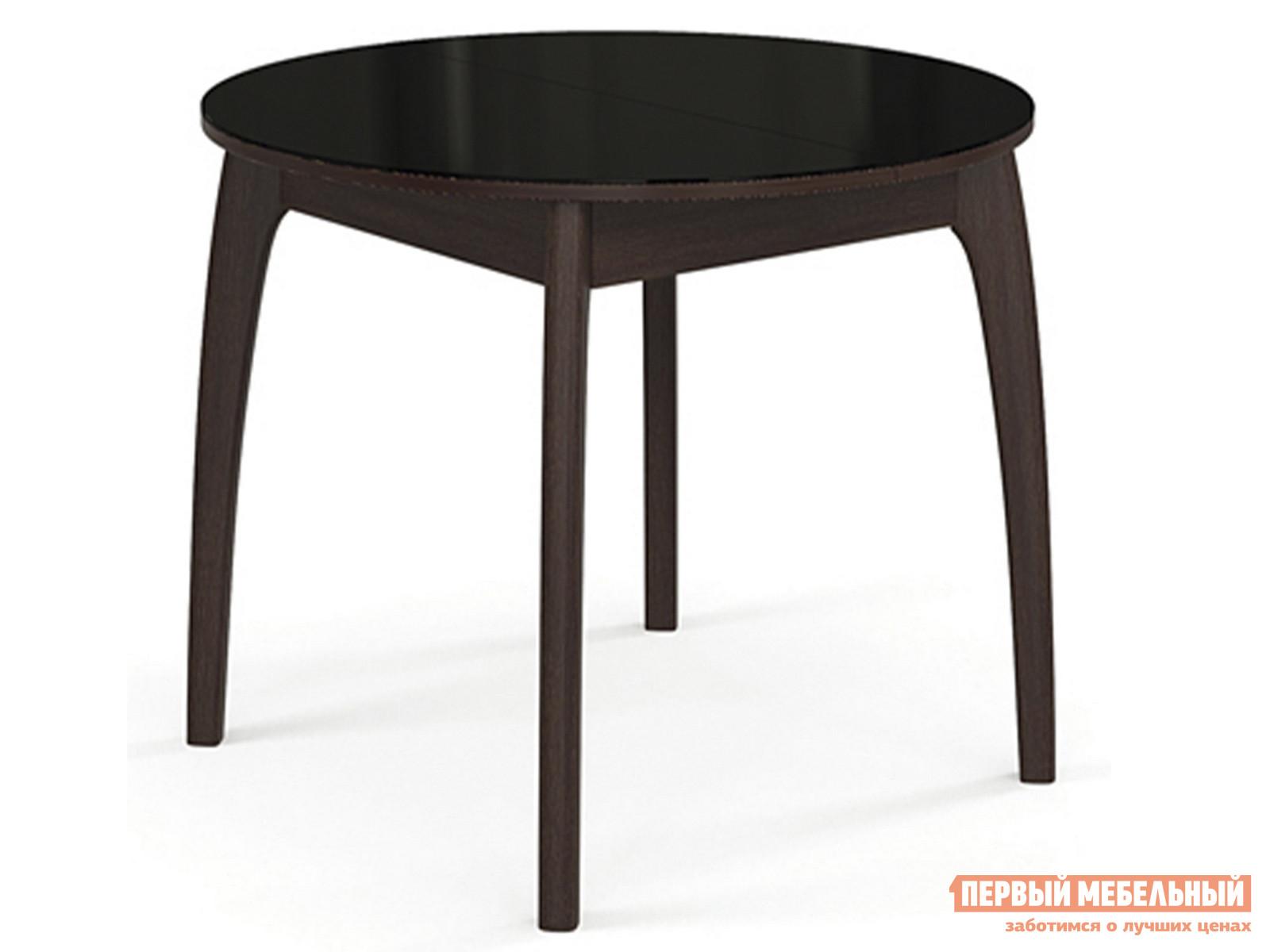 Кухонный стол  №46 ДН4 (круглый) Венге / Стекло черное ДИК 59604