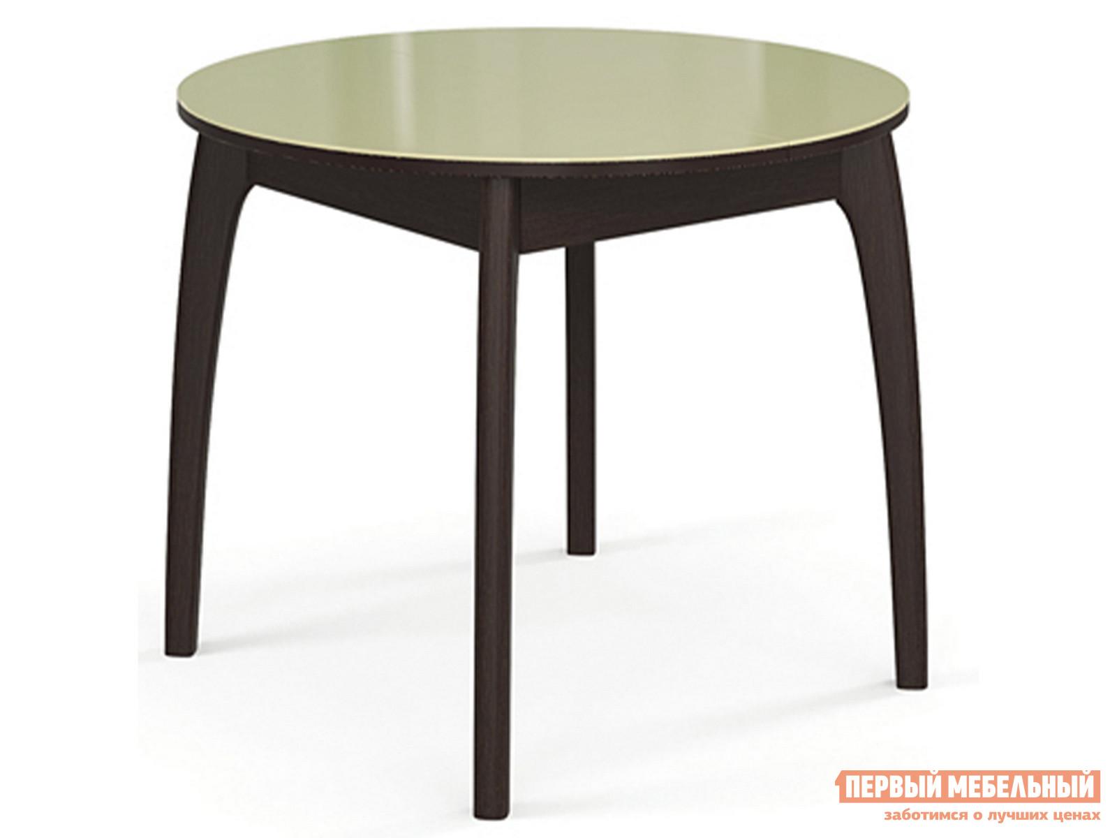 Кухонный стол  №46 ДН4 (круглый) Венге / Стекло бежевое ДИК 59602