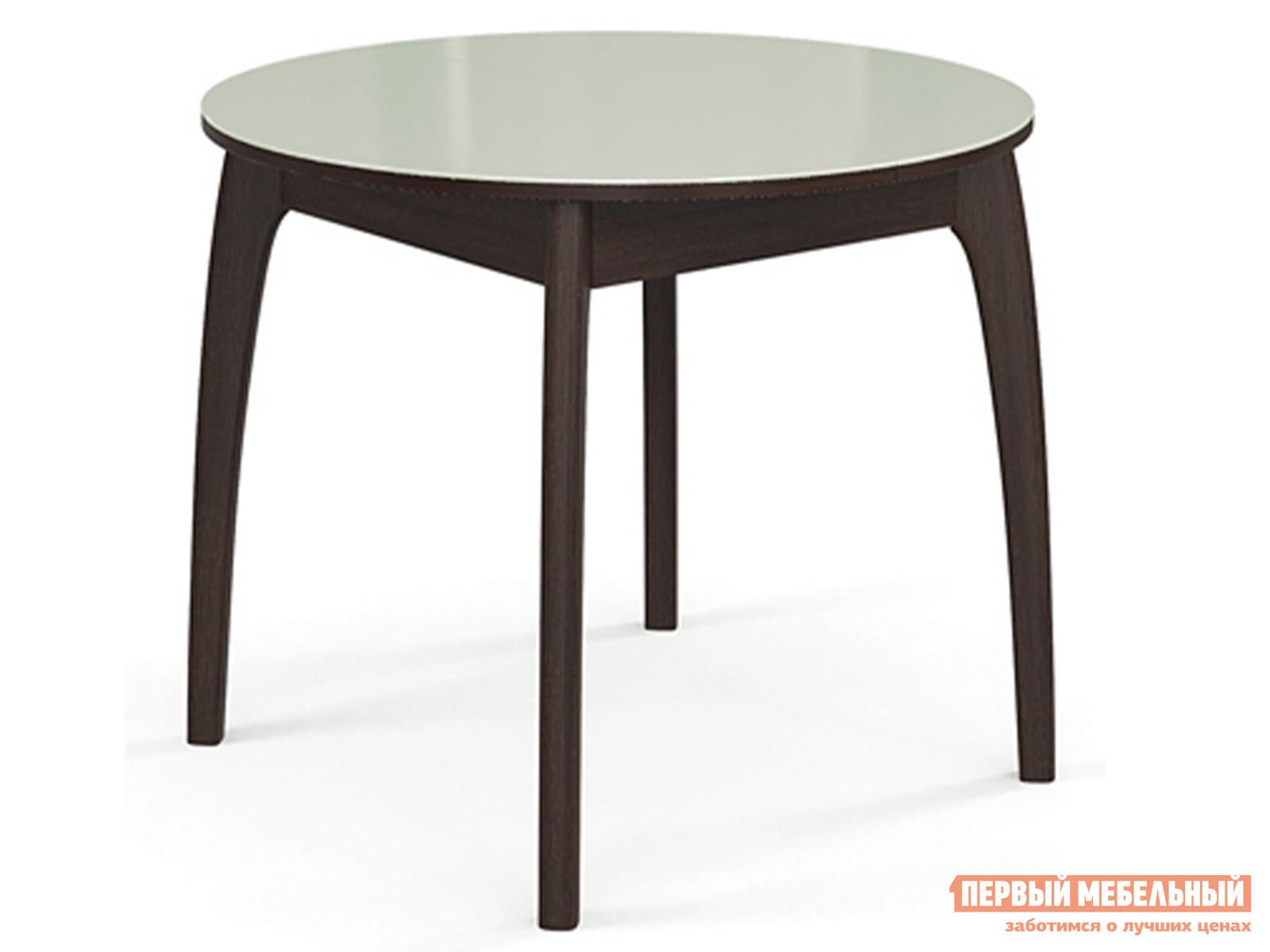 Кухонный стол  Стол №46 ДН4 (круглый) Венге / Стекло белое