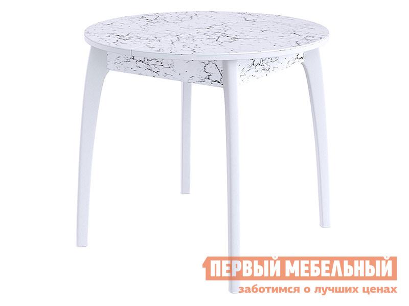 Кухонный стол ДИК Стол DikLine №46 ДН белый,мрамор 3028 (вариант 2)