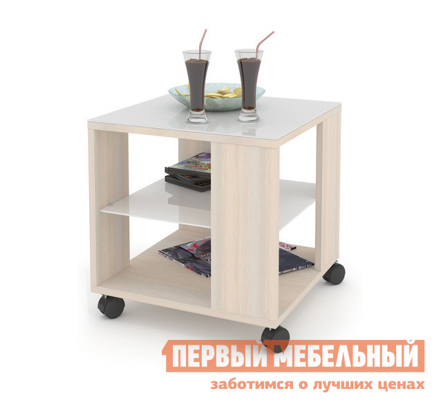Журнальный столик ДИК MAYER 2 Дуб молочный / Стекло белое
