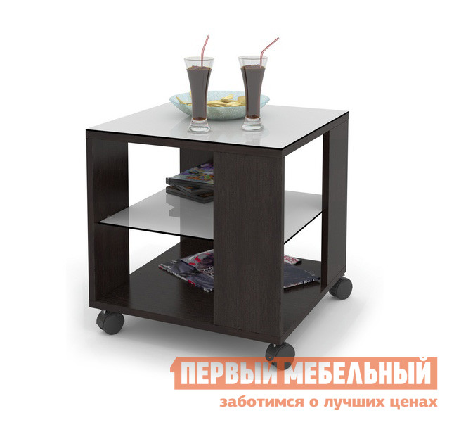 Журнальный столик ДИК MAYER 2 Венге / Стекло белое