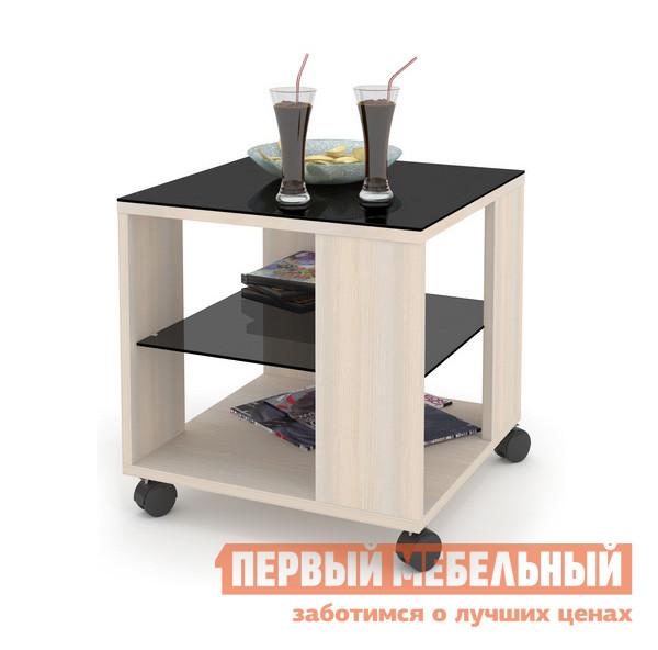 Журнальный столик ДИК MAYER 2 Дуб молочный / Стекло черное
