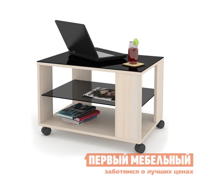 Журнальный столик ДИК MAYER 3 Дуб молочный / Стекло черное