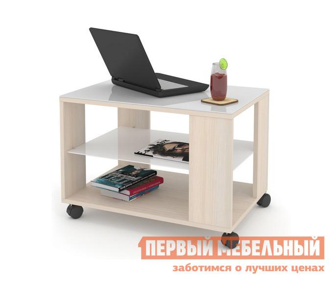Журнальный столик ДИК MAYER 3 Дуб молочный / Стекло белое