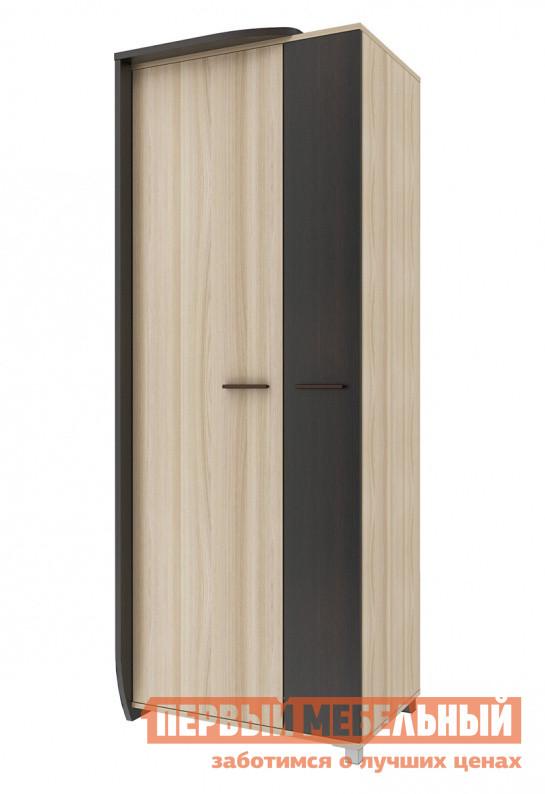 Шкаф распашной СтолЛайн СТЛ.232.01 Венге / Ясень шимо светлыйШкафы распашные<br>Габаритные размеры ВхШхГ 2130x815x595 мм. Распашной двухстворчатый шкаф в оригинальном дизайне.  Такая модель не только поможет с удобством разместить большое количество одежды и аксессуаров, но и украсит собой гостиную.  Его асимметричный силуэт выглядит необычно и привлекательно. Шкаф оборудован двумя полками и длинной металлической штангой для плечиков. Выполнена модель из ЛДСП толщиной 22 и 16 мм с обработкой кромкой из ПВХ и меламина.  Ручки и опоры выполнены из пластика. Обратите внимание, что шкаф изготавливается только в представленном варианте — темная стенка слева.<br><br>Цвет: Темное-cветлое дерево<br>Высота мм: 2130<br>Ширина мм: 815<br>Глубина мм: 595<br>Форма поставки: В разобранном виде<br>Срок гарантии: 18 месяцев<br>Тип: Прямые<br>Материал: Дерево<br>Материал: ЛДСП<br>Размер: Двухдверные