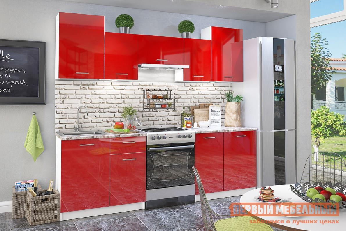 Кухонный гарнитур СтолЛайн СТЛ.234.00 Белый / Красный глянецКухонные гарнитуры<br>Габаритные размеры ВхШхГ 2155x2385x600 мм. Небольшой функциональный кухонный гарнитур с глянцевыми фасадами роскошного красного цвета.  Он имеет ширину 2385 мм и включает в себя пять распашных навесных шкафчиков и четыре напольных, соединенных попарно столешницей и образующих две независимые рабочие зоны.  В комплекте идет две столешницы размером (ВхШхГ): 26 х 892 х 600 мм. В одной паре объединен шкафчик под мойку и тумба с выдвижным ящиком под столовые приборы, вторая пара представляет собой две распашные тумбы, в каждой по одной полке. Ширина тумбы под мойку — 500 мм. Столешница выполнена из древесно-стружечной плиты толщиной 26 мм, покрытой пластиками высокого и непрерывного давления: HPL (High Pressure Laminate) и CPL (Continuous Pressure Laminat).  Это очень прочные не пористые материалы, они не впитывают запахи, устойчивы к влаге, механическому и химическому воздействию, легко моются. Фасад выполнен из МДФ, корпус изготовлен из высокопрочной ЛДСП, устойчивой к температурным перепадам и механическим повреждениям.  Крепежная фурнитура выполнена из нержавеющей стали.  Ручки — пластик.  В ящике используются роликовые направляющие. В комплект входит сушка для посуды с поддоном шириной 500 мм. Обратите внимание! Мойка в комплект гарнитура не входит, ее необходимо приобретать отдельно.  С подходящими моделями можно ознакомиться в разделе «Аксессуары».<br><br>Цвет: Красный<br>Высота мм: 2155<br>Ширина мм: 2385<br>Глубина мм: 600<br>Кол-во упаковок: 6<br>Форма поставки: В разобранном виде<br>Срок гарантии: 18 месяцев<br>Тип: Прямые<br>Материал: Дерево<br>Материал: ЛДСП<br>Материал: МДФ<br>Размер: Для маленькой кухни<br>Глянцевые: Да