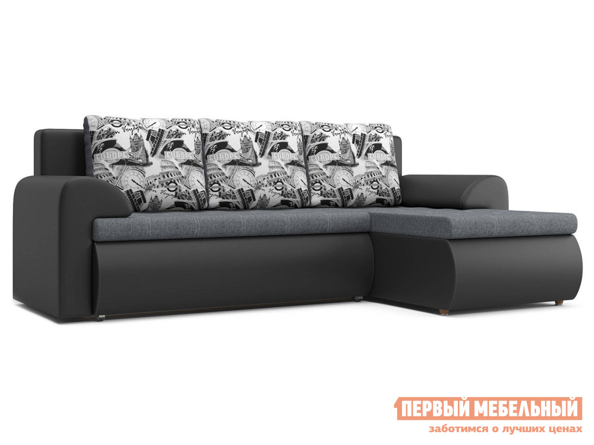 Угловой диван  Цезарь У Серо-черный, рогожка / иск. кожа, Правый Столлайн 86085