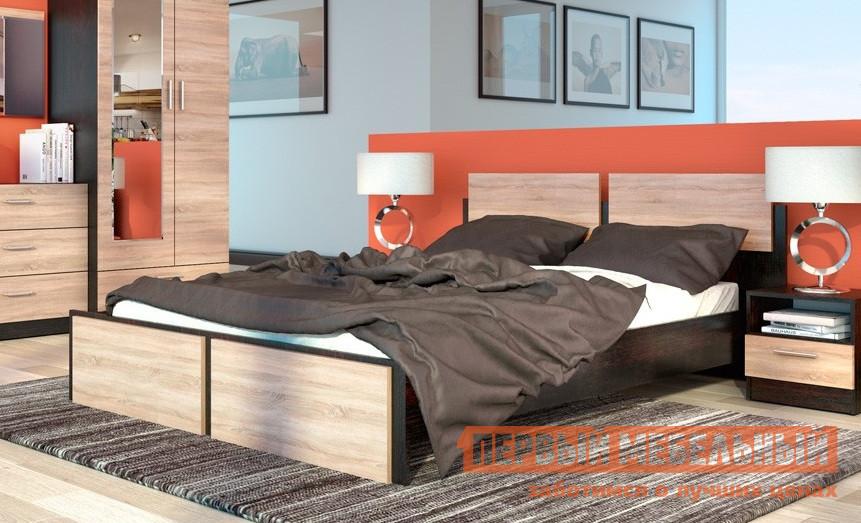 Кровать СтолЛайн СТЛ.142.04 Дуб Феррара / Дуб Сонома (Флёр), Без ортопедического основанияДвуспальные кровати<br>Габаритные размеры ВхШхГ 800x1642x2058 мм. Интересные геометрические вставки на спинке и изножье данной кровати придают ей необычный, стильный вид.  Ваш сон и отдых будут комфортными. Размер спального места составляет 1600 х 2000 мм. При заказе необходимо выбрать удобную для вас комплектацию — с ортопедическим основанием или без него.  Кровать изготовлена из ЛДСП.  Основание — металлический каркас с гнутоклееными ламелями. Данная модель принадлежит к серии модульной мебели для спальни и составит с другими элементами замечательный комплект. Обратите внимание! Кровать продается без матраса, подходящие варианты матрасов вы можете найти в разделе «Аксессуары».<br><br>Цвет: Темное-cветлое дерево<br>Высота мм: 800<br>Ширина мм: 1642<br>Глубина мм: 2058<br>Форма поставки: В разобранном виде<br>Срок гарантии: 18 месяцев<br>Тип: Простые<br>Материал: Дерево<br>Материал: ЛДСП<br>Материал: МДФ<br>Размер: Спальное место 160Х200<br>С ортопедическим основанием: Да<br>На ножках: Да<br>Без изножья: Да<br>С матрасом: Да<br>Без подъемного механизма: Да