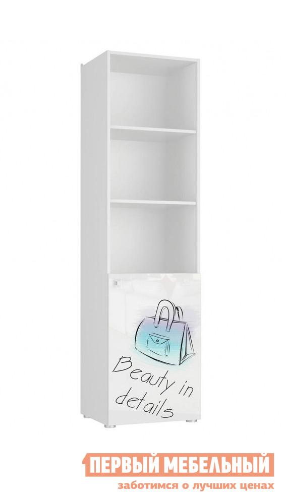 Стеллаж в детскую  Модерн 5 шкаф 1-дверный открытый Бело-серый / глянец, стиль