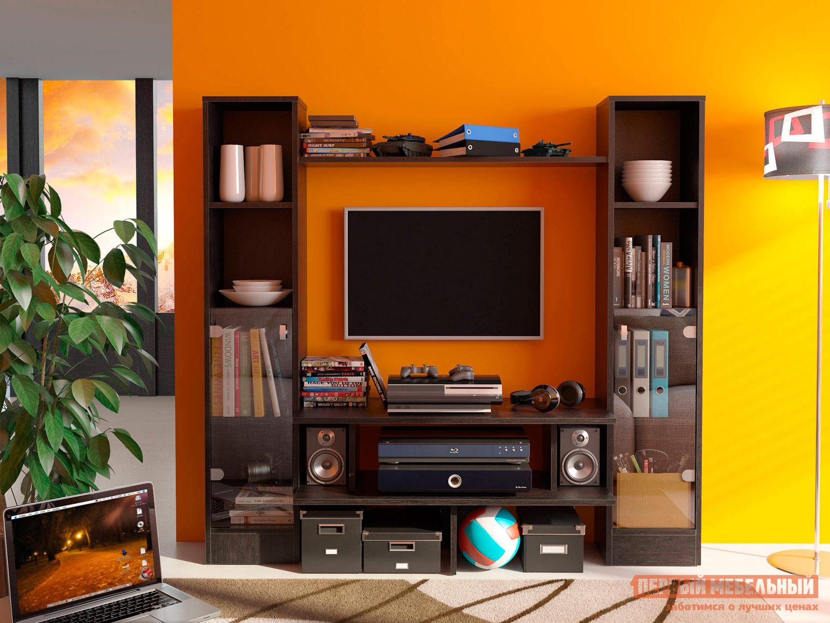 Гостиная СтолЛайн СТЛ.090.00 ВенгеСтенки для гостиной<br>Габаритные размеры ВхШхГ 1376x1464x354 мм. Компактная функциональная стенка для гостиной комнаты.  Благодаря своим размерам, модель станет полезным элементом в небольшой комнате.  Прямые линии силуэта и темный цвет исполнения позволят дополнить как классический, так и современный интерьер помещения. Стенка имеет два шкафчика со стеклянными дверцами, большое количество полок и ниш для мультимедиа аппаратуры, книг, посуды, предметов интерьера и прочих вещей. Ширина полки под телевизор — 904 мм. Изделие выполняется из ЛДСП.<br><br>Цвет: Венге<br>Цвет: Венге<br>Высота мм: 1376<br>Ширина мм: 1464<br>Глубина мм: 354<br>Форма поставки: В разобранном виде<br>Срок гарантии: 18 месяцев<br>Тип: Горки<br>Характеристика: Немодульные<br>Материал: из ЛДСП<br>Размер: Маленькие<br>Особенности: Со стеллажом, Со шкафом витриной, С местом под ТВ