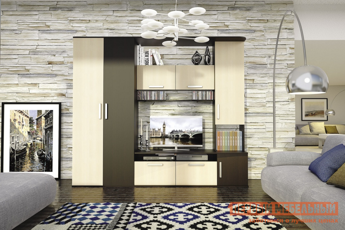 Гостиная СтолЛайн Алегро (СТЛ.111) Венге / Дуб молочныйСтенки для гостиной<br>Габаритные размеры ВхШхГ 2000x2340x513 мм. Современная компактная стенка для гостиной, выполненная в контрастных цветах. Модель включает в себя:вместительный шкаф со штангой для одежды, открытые полки для книг, дисков и разных мелочей, закрытые шкафчики, нишу под телевизор шириной 1102 мм. Стенка выполнена из ЛДСП.<br><br>Цвет: Темное-cветлое дерево<br>Высота мм: 2000<br>Ширина мм: 2340<br>Глубина мм: 513<br>Форма поставки: В разобранном виде<br>Срок гарантии: 18 месяцев<br>Характеристика: Немодульные<br>Материал: ЛДСП<br>Размер: Маленькие<br>Со шкафом: Да<br>С распашным шкафом: Да<br>Со стеллажом: Да<br>С местом под ТВ: Да<br>Стиль: Модерн