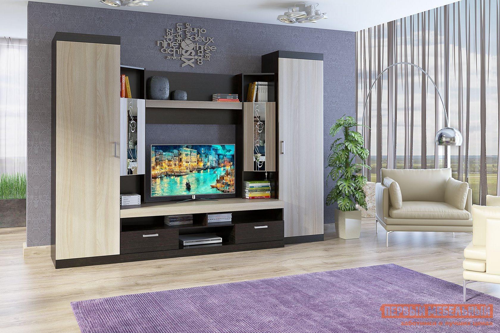 Гостиная СтолЛайн Мальта СТЛ.250.00 Дуб феррара / Ясень шимо светлыйСтенки для гостиной<br>Габаритные размеры ВхШхГ 2210x2980x590 мм. Современная гостиная в актуальном контрастном сочетании древесных оттенков.  Её продуманная конструкция поможет вам организовать удобную зону хранения, в которой свое место найдет и техника, и одежда, и книги. Стенка оборудована шкафом со штангой, закрытым стеллажом с полками, открытыми полками и выдвижными ящиками. Фасады средних дверец дополнены зеркалами, декорированными фотопечатью с легким орнаментом. Корпус стенки изготовлен из ЛДСП 16 мм с кромкой из меламина и ПВХ, ручки — из пластика.  Выдвижные ящики установлены на роликовые направляющие.<br><br>Цвет: Темное-cветлое дерево<br>Высота мм: 2210<br>Ширина мм: 2980<br>Глубина мм: 590<br>Кол-во упаковок: 8<br>Форма поставки: В разобранном виде<br>Срок гарантии: 18 месяцев<br>Характеристика: Немодульные<br>Материал: Дерево<br>Материал: ЛДСП<br>Размер: Большие<br>С зеркалом: Да<br>Со шкафом: Да<br>С распашным шкафом: Да<br>Со стеллажом: Да<br>С местом под ТВ: Да<br>Стиль: Модерн