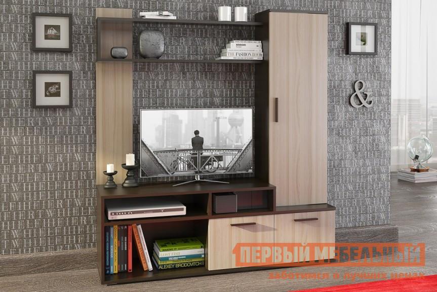 Гостиная СтолЛайн СТЛ.119.01 Венге / Ясень шимо светлыйСтенки для гостиной<br>Габаритные размеры ВхШхГ 1550x1400x370 мм. Небольшая, но очень практичная стенка в гостиную.  Благодаря ей вы сможете компактно и с удобством разместить все необходимые вещи в зоне мультимедиа. Модель имеет несколько открытых полок, закрытый стеллаж и два вместительных ящика. Стенка изготовлена из ЛДСП толщиной 16 мм и обработана кромкой меламин и ПВХ.  Ручки выполнены из пластика.<br><br>Цвет: Венге / Ясень шимо светлый<br>Цвет: Темное-cветлое дерево<br>Высота мм: 1550<br>Ширина мм: 1400<br>Глубина мм: 370<br>Форма поставки: В разобранном виде<br>Срок гарантии: 18 месяцев<br>Характеристика: Немодульные<br>Материал: Деревянные, из ЛДСП<br>Размер: Маленькие<br>Особенности: Со шкафом, Со стеллажом, С местом под ТВ<br>Стиль: Модерн