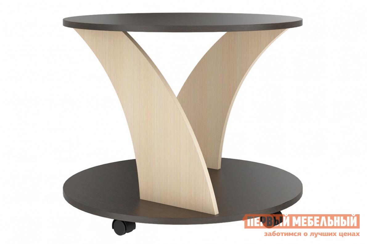 Журнальный столик СтолЛайн СТЛ.221.07 Венге / Дуб КремонаЖурнальные столики<br>Габаритные размеры ВхШхГ 540x670x670 мм. Аккуратный стильный столик впишется как в интерьер квартиры, так и в офисное пространство.  Круглое основание и столешница объединены при помощи двух изогнутых, зеркально расположенных ножек.  При кручении столика вокруг своей оси они создают буквально гипнотический эффект своей формой. Модель оборудована колесиками и выполнена из ЛДСП высокого качества.<br><br>Цвет: Венге / Дуб Кремона<br>Цвет: Темное-cветлое дерево<br>Высота мм: 540<br>Ширина мм: 670<br>Глубина мм: 670<br>Форма поставки: В разобранном виде<br>Срок гарантии: 18 месяцев<br>Тип: Для офиса, Дизайнерские<br>Назначение: Для гостиной<br>Материал: из ЛДСП<br>Форма: Круглые<br>Размер: Маленькие<br>Высота: Высокие<br>Особенности: С полкой, На колесиках<br>Стиль: Современный
