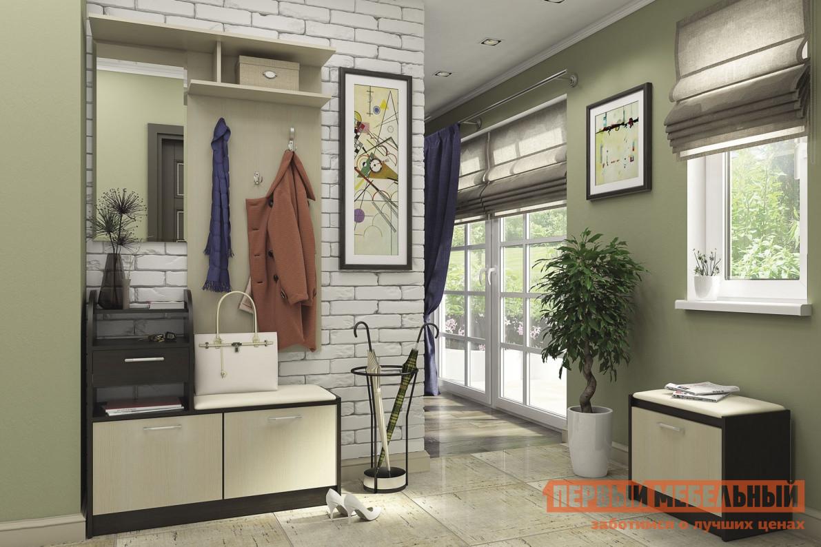 Прихожая СтолЛайн Лофт К1 Венге / Дуб Кремона СтолЛайн Габаритные размеры ВхШхГ 2346x1506x350 мм. Компактный комплект мебели для прихожей отлично впишется даже в небольшой коридор и позволит хранить одежду и обувь в порядке. Комплект сочетает в себе следующие элементы:настенную вешалку с крючками, зеркалом и полочками для зонтов и головных уборов ВхШхГ: 950х1000х350 ммтумбу для обуви с закрытым шкафчиком, полками, выдвижным ящиком для необходимых под рукой мелочей ВхШхГ 1396х1000х286мммалую тумбу для обуви ВхШхГ: 506х550х350мм. На обеих тумбах для обуви есть мягкие накладки, которые позволят с комфортом обуться. Все элементы прихожей независимы друг от друга, их можно расположить в любом порядке. Прихожая производится из КДСП, зеркало — 2 мм.