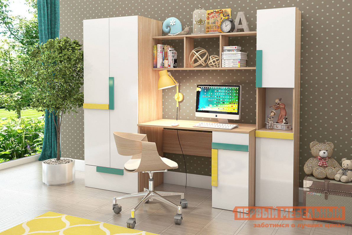 Комплект детской мебели СтолЛайн Умка СТЛ К2 Ясень Лион песочный / Белый
