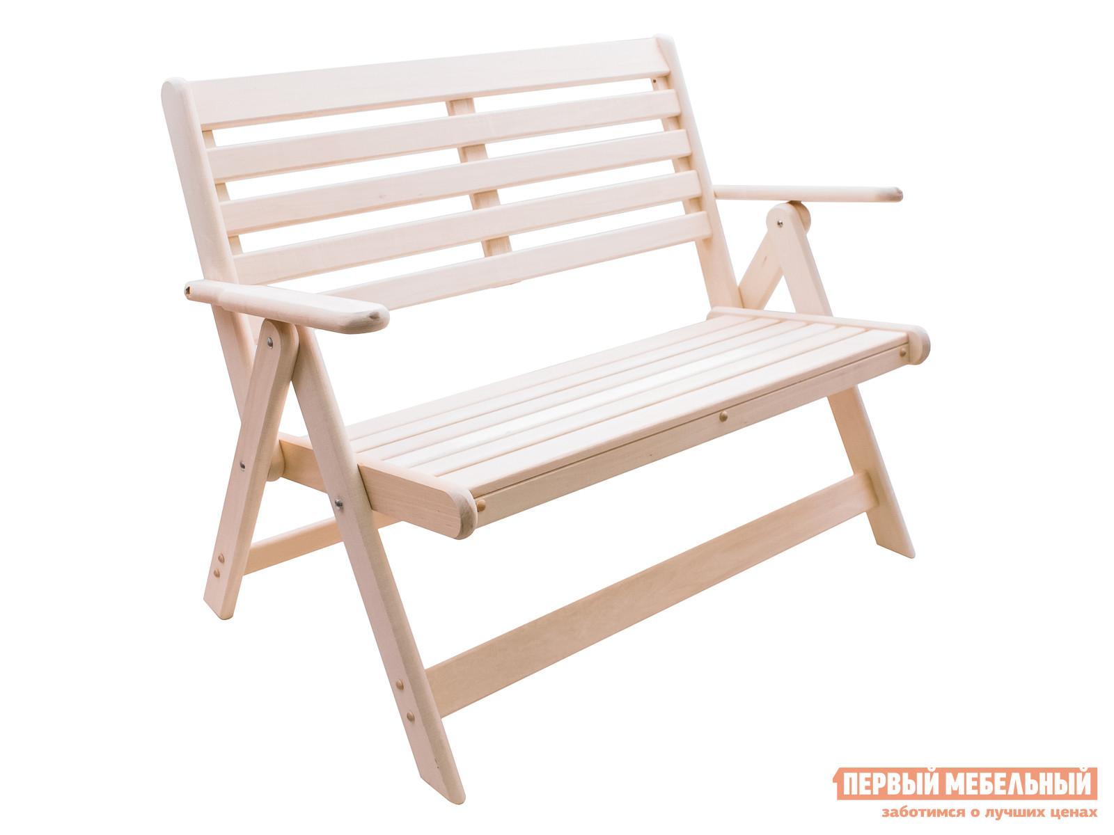Скамейка ММ Аника ЛипаСкамейки и лавочки<br>Габаритные размеры ВхШхГ 870x1000x550 мм. Раскладная деревянная скамейка с подлокотниками — уютная деталь для сада, в беседку, на веранду дачного домика или для комнаты отдыха в вашей бане.  Модель имеет решетчатые спинку и сиденье, что обеспечит приятную циркуляцию воздуха по телу.  Скамья имеет компактные размеры и идеально подходит для небольшого помещения.  Все поверхности тщательным образом обработаны и гладкие на ощупь.  Благодаря массиву липы, из которого изготавливается скамейка, помещение наполнится древесным ароматом и уютом. В сложенном виде скамейка имеет размеры 1050 х 210 мм, весит всего 12 кг, ее без труда можно вынести на улицу или переместить в дом. Обращаем ваше внимание, что при изготовлении скамьи используется только натуральное дерево без добавлений и обработки химическими средствами, благодаря чему древесина не будет выделять вредные испарения.  Если вы решите разместить скамью на улице, в саду или в открытой беседке, то рекомендуется предварительно покрыть изделие влагостойким составом, которое защитит дерево от воздействия атмосферной влажности и продлит срок ее службы.<br><br>Цвет: Светлое дерево<br>Высота мм: 870<br>Ширина мм: 1000<br>Глубина мм: 550<br>Кол-во упаковок: 1<br>Форма поставки: В разобранном виде<br>Срок гарантии: 3 месяца<br>Тип: Складные<br>Тип: Со спинкой<br>Назначение: Для дачи<br>Назначение: Для бани<br>Назначение: Для дома<br>Назначение: Для сада<br>Материал: Дерево<br>Порода дерева: Липа<br>Размер: Маленькие<br>Размер: Широкие<br>С подлокотниками: Да<br>Стиль: Прованс