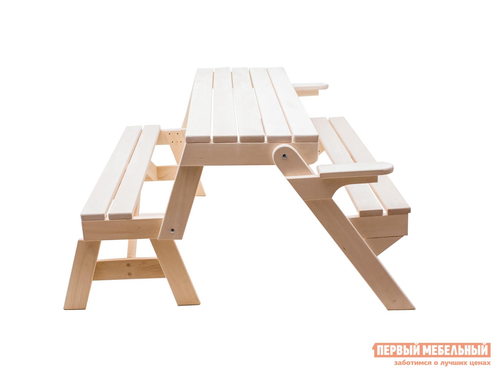 Набор мебели для пикника ММ Лоренс ЛипаНаборы мебели для пикника<br>Габаритные размеры ВхШхГ 800 / 750x1600x700 / 1240 мм. Уникальный трансформер — деревянный стол-скамья — это настоящая находка для тех, кто ищет нечто уютное и практичное для своего загородного участка.  Не нужно искать отдельно мебель для дачного домика, в сад или в баню, в этой модели уже есть все.  В сложенном виде изделие представляет собой широкую удобную скамью с подлокотниками.  Реечные спинка и сиденье обеспечат свободную циркуляцию воздуха по телу.  Идеальный элемент меблировки для веранды, беседки или предбанника. Если вы планируете устроить застолье на даче, собрать семью и друзей, то скамья легко превращается в широкий стол с двумя лавками, за которым поместится шесть человек.  Добавьте пару табуретов, и с торцов стола сядут еще двое.  Размеры изделия в виде скамьи (ВхШхГ): 800 х 1600 х 700 мм. Размеры изделия в виде стола с лавками (ВхШхГ): 750 х 1600 х 1240 мм. Изделие полностью, включая раскладные механизмы, изготавливаются из массива липы.  Дерево проходит тщательную обработку и шлифовку, что обеспечивает гладкую и приятную на ощупь поверхность всех деталей.  Стол-скамья сделает помещение уютным и наполнит его мягким древесным ароматом. При изготовлении мебели дерево не обрабатывается химическими средствами.  Если вы планируете поставить стол-скамью на открытом воздухе, то рекомендуется обработать поверхность влагостойкими составом, которое защитит мебельное изделие от воздействия уличной влажности и продлит срок его службы.<br><br>Цвет: Светлое дерево<br>Высота мм: 800 / 750<br>Ширина мм: 1600<br>Глубина мм: 700 / 1240<br>Кол-во упаковок: 1<br>Форма поставки: В собранном виде<br>Срок гарантии: 3 месяца<br>Тип: Раскладные<br>Тип: Складные<br>Тип: Трансформер<br>Тип: На 5 и более персон<br>Тип: Со спинкой<br>Тип: С лавками<br>Тип: Обеденные<br>Назначение: Для дачи<br>Назначение: Для бани<br>Назначение: Для дома<br>Назначение: Для сада<br>Материал: Массив дерева<br>Порода дерева: Липа<