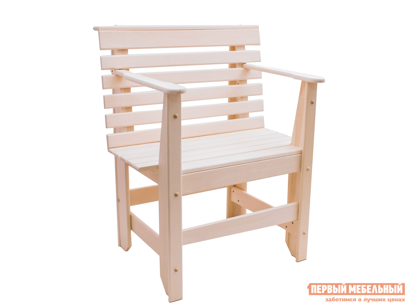 Садовое кресло ММ Нило ЛипаСадовые стулья и кресла<br>Габаритные размеры ВхШхГ 870x700x500 мм. Массивный деревянный стул с подлокотниками, изготовленный из массива липы, понравится любителям деревенского стиля в оформлении интерьера.  Стул имеет невысокую решетчатую спинку и удобное сиденье из наборных планок.  Ребра жесткости между ножками делают стул крепким и надежным.  Модель поставляется в уже собранном виде, весит 10 кг. Модель идеально подходит для меблировки обеденной зоны в дачном домике, на веранде, в беседке, в саду или в предбаннике.  Древесина липы отлично переносит температурные нагрузки, которые происходят в бане, и выделяет приятный древесных аромат.  Однако, обращаем ваше внимание, если вы решите использовать деревянное кресло на улице, то поверхность необходимо обработать любым влагостойким составом, который защитит мебель от атмосферных влияний.  При изготовлении стула древесина не подвергается какой-либо химической обработке.<br><br>Цвет: Светлое дерево<br>Высота мм: 870<br>Ширина мм: 700<br>Глубина мм: 500<br>Кол-во упаковок: 1<br>Форма поставки: В собранном виде<br>Срок гарантии: 3 месяца<br>Материал: Массив дерева<br>Порода дерева: Липа<br>С подлокотниками: Да<br>С жестким сиденьем: Да