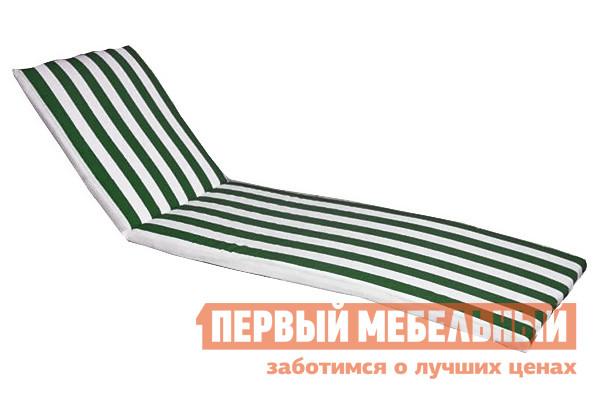 Фото Матрас для шезлонга ЛетоЛюкс Бриз для лежака Белый / Зеленый. Купить с доставкой