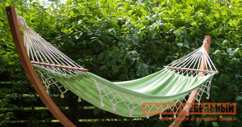 Гамак Besta fiesta TANGO ЗеленыйГамаки<br>Габаритные размеры ВхШхГ x2200x1450 мм. Очаровательный гамак TANGO из 100% хлопка создан для яркого лета! Сделанный в Бразилии он подарит незабываемые моменты релакса под теплыми лучами солнца.  На полотне размером 2200 на 1450 мм можно вытянуться во весь рост и, слегка покачиваясь, дать телу отдохнуть от работы, спешки и забот, позволить мыслям свободный полет в мечты и планы предстоящих приятных затей. Края полотна декорированы воздушным плетением.  Вместе с деревянными планками и продольными нитями для крепления гамака его длина составляет 3300 мм.  Благодаря плотному материалу и крепким веревкам гамак выдерживает нагрузку до 150 кг.  В скрученном виде гамак имеет размеры 100 х 100 х 800 мм и упакован в удобный рюкзак с лямками.  Гамак весит всего 2 кг, его всегда можно взять собой на природу, закинуть в багажник машины и при случае организовать уютную релакс-зону. Обратите внимание! Каркас на изображениях в комплект гамака не входит.<br><br>Цвет: Зеленый<br>Ширина мм: 2200<br>Глубина мм: 1450<br>Кол-во упаковок: 1<br>Форма поставки: В собранном виде<br>Срок гарантии: 12 месяцев<br>Назначение: Для дома<br>Назначение: Для сада<br>Материал: Ткань<br>Размер: Маленькие<br>Размер: Одноместные<br>С бахромой: Да