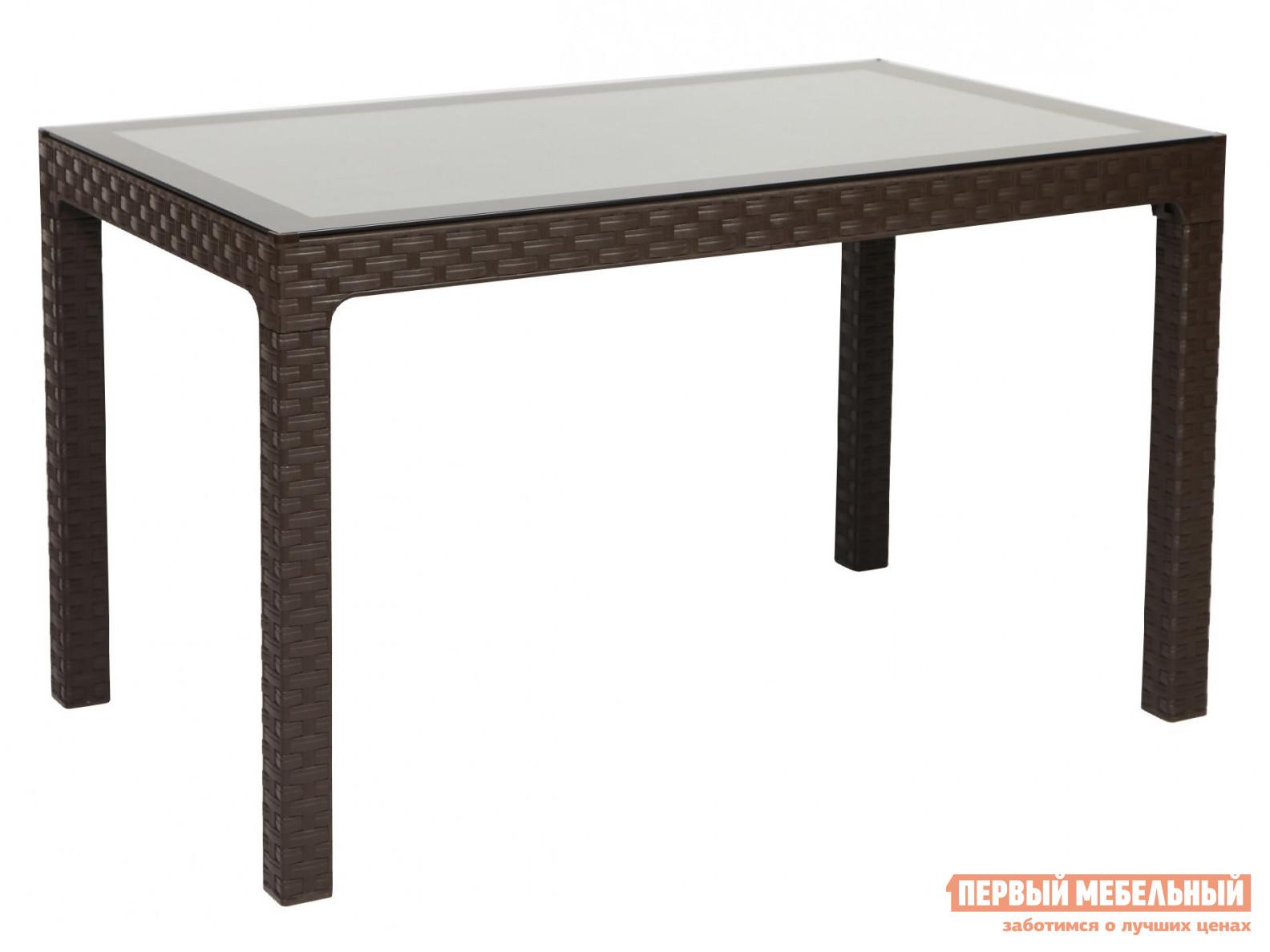 Садовый стол Рихаус Стол пластиковый Arizona со стеклом DEL/AR-R/80x140/GL/W/ пластиковый стул рихаус net 4032656000 4032675000