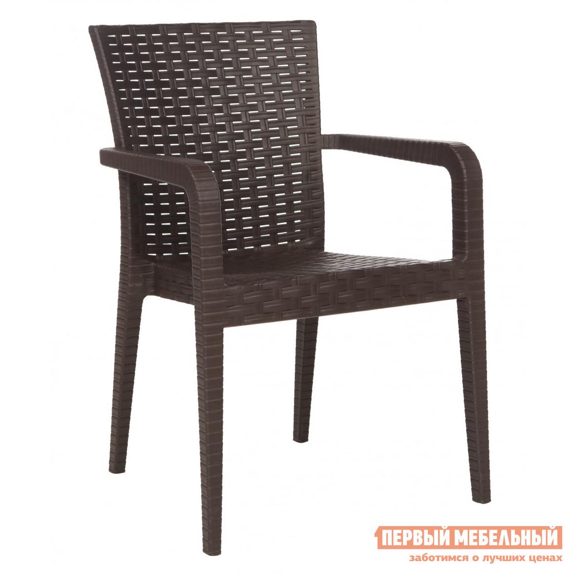 Плетеное кресло Рихаус Кресло пластиковое Alberta DEL/ALB-R/ARM/W