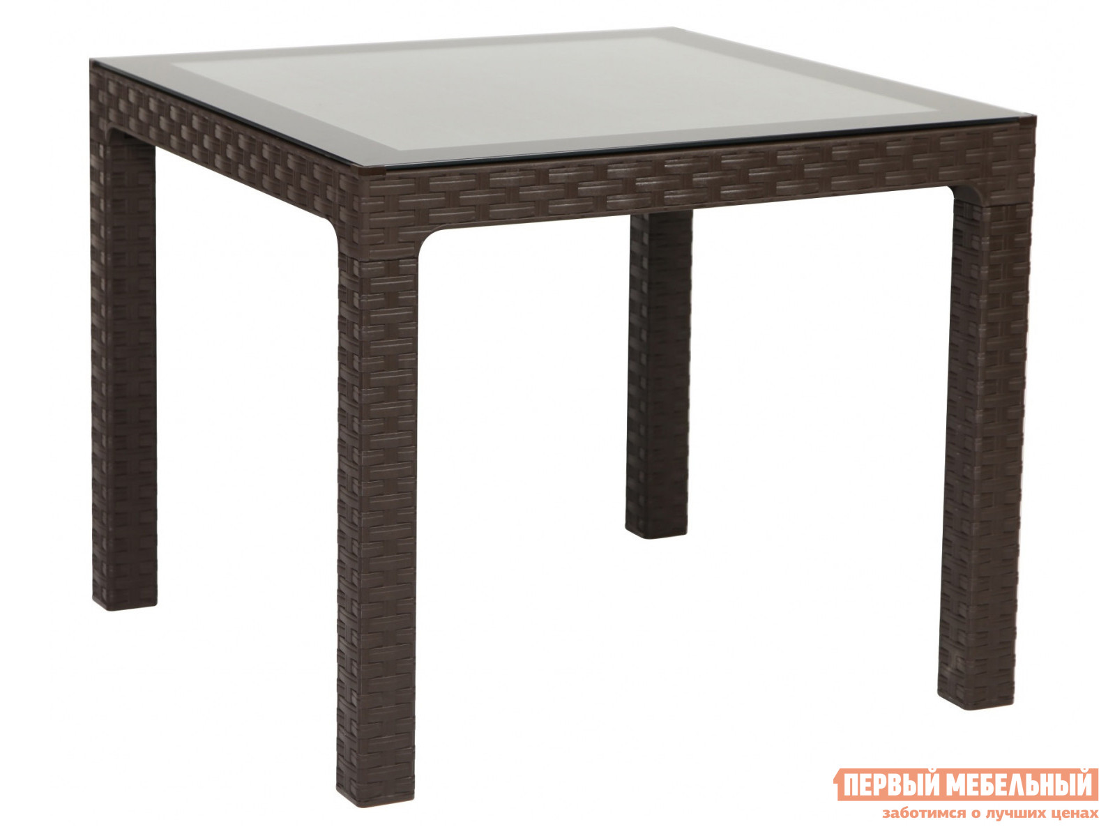 Садовый стол Рихаус Стол пластиковый Arizona со стеклом DEL/AR-R/90x90/GL/W
