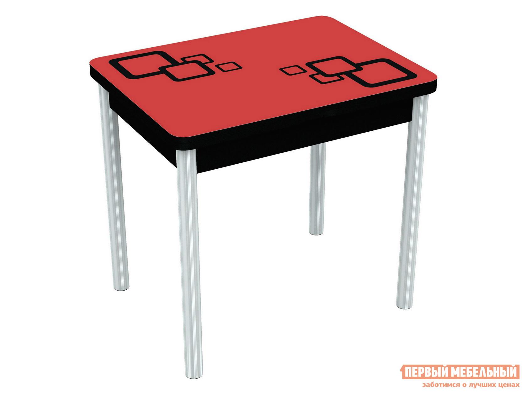 Кухонный стол  Бари - рисунок Стекло Красное, Рисунок Черный (квадро) / ЛДСП Черная