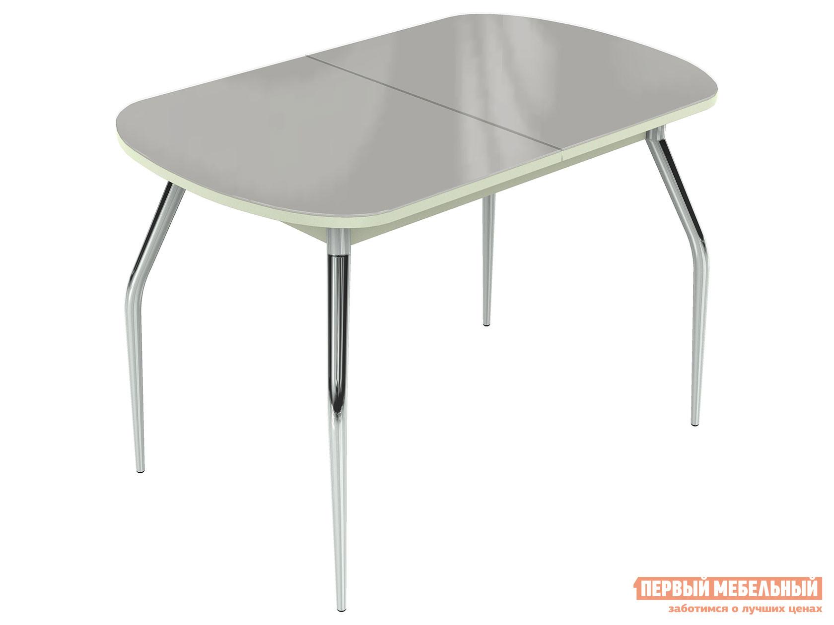 Кухонный стол  Ривьера - Стекло - Хром Стекло Белое / ЛДСП Белая, Большой