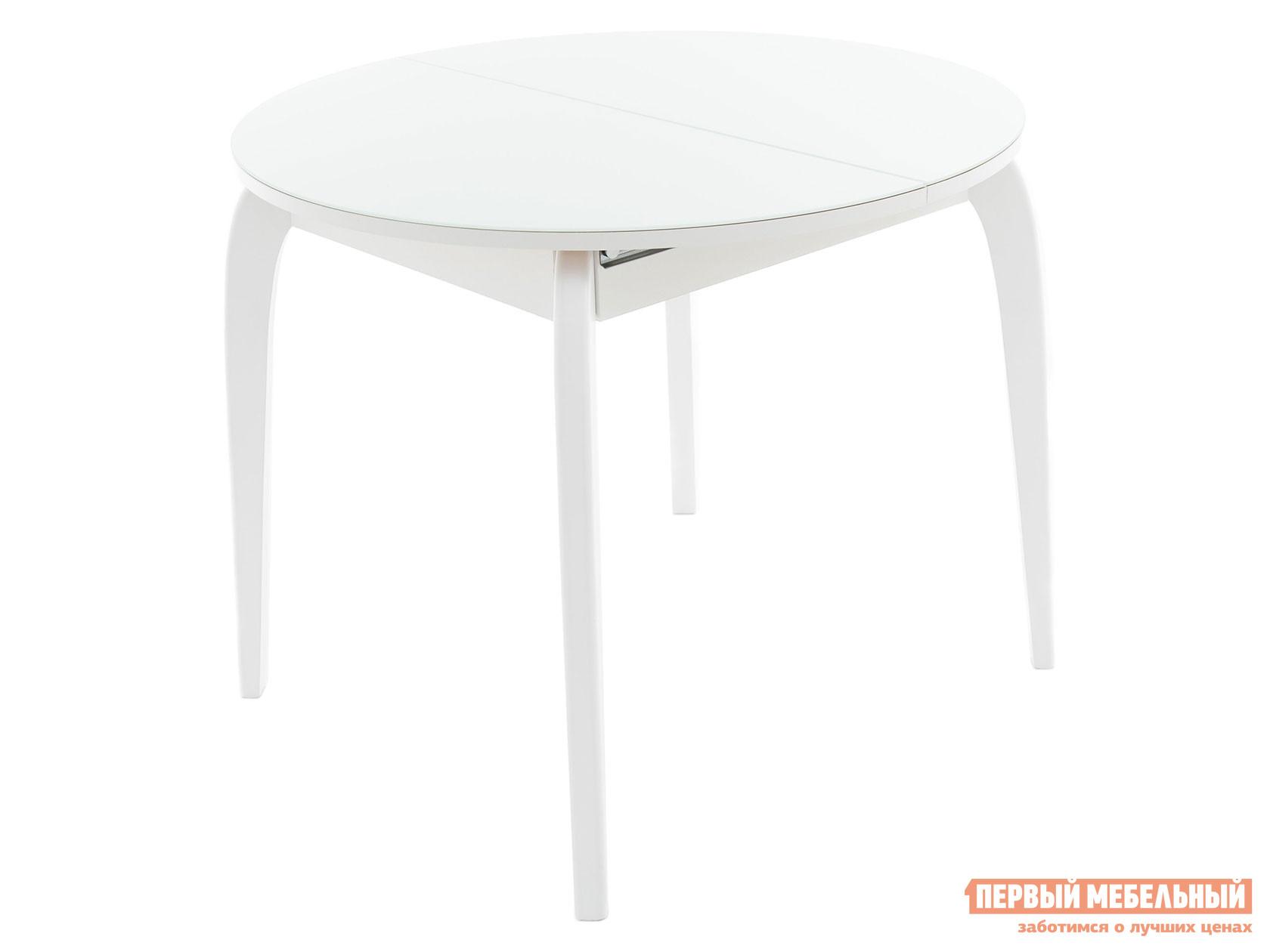Кухонный стол Линоторг Стол раздвижной РИВЬЕРА СВ Круг- стекло (D 900) без ног + Опора №1 изогнутая из массива дерева (Белый комплект из 4 ног)