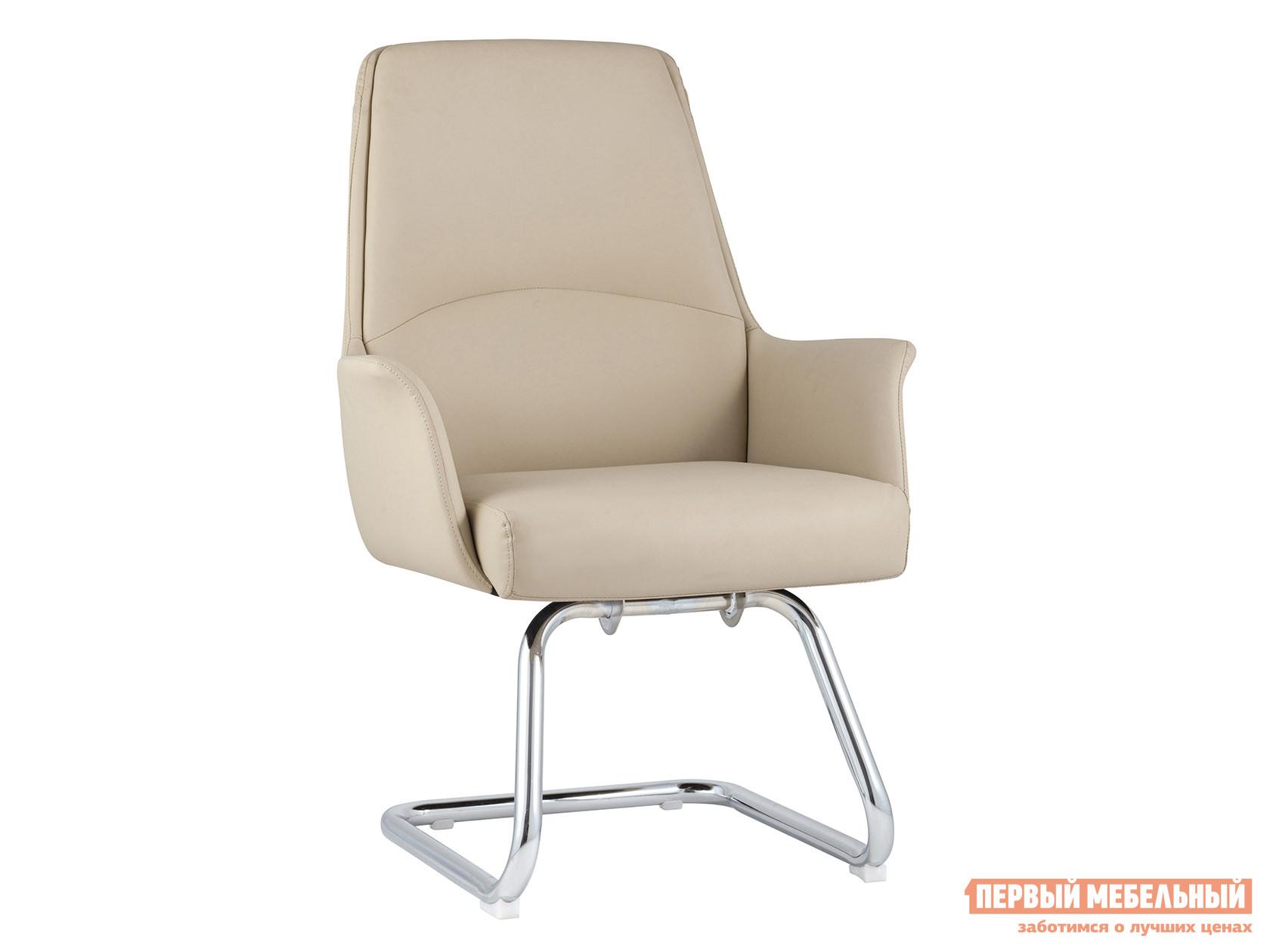 Офисный стул Кресло для посетителей TopChairs Viking+Мет.основание Бежевый, экокожа фото