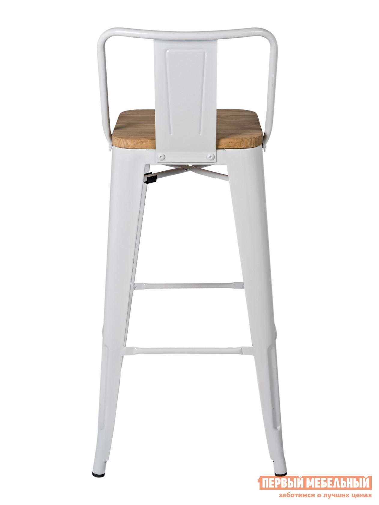 Барный стул  Толикс со спинкой Белый глянцевый / Cветлое дерево