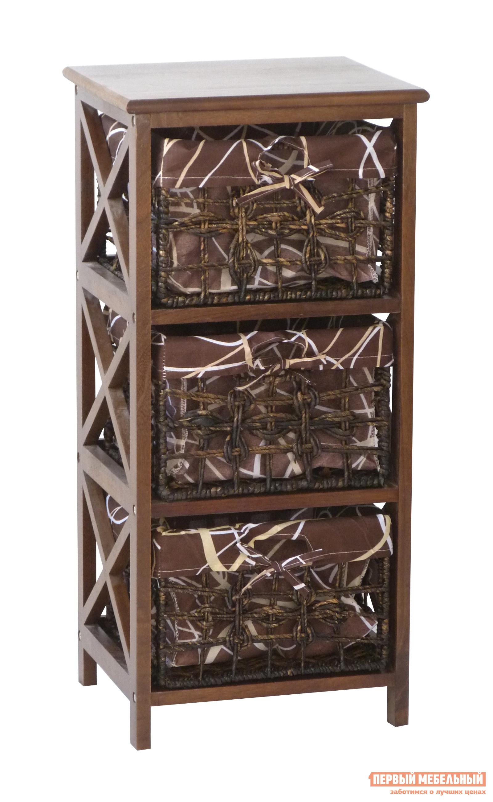 Комод Ariva ARIVA-404Z (54364) КоричневыйКомоды<br>Габаритные размеры ВхШхГ 745x350x300 мм. Комод, выполненный из натуральных материалов, — это красивое и экологичное мебельное изделие.  Модель оснащена тремя вместительными корзинами, в которых можно хранить различные предметы и вещи.  Комод универсален, он впишется в любую комнату в доме.  Имеет оригинальное и функциональное оформление, плетеные корзины, стильные чехлы.  Высота корзины 18 см, высота ниши под корзину 21 см.  Каркас комода изготовлен из павловнии.  Корзины выполнены из кукурузного жгута, съемные чехлы для корзин из ткани: 30% хлопок, 70% полиэстер. Обратите внимание! Использование изделия без корзинок невозможно.  Корзина устанавливается на раму с пустотой в центре.<br><br>Цвет: Коричневый<br>Цвет: Коричневое дерево<br>Высота мм: 745<br>Ширина мм: 350<br>Глубина мм: 300<br>Кол-во упаковок: 1<br>Форма поставки: В разобранном виде<br>Срок гарантии: 1 год<br>Тип: Прямые<br>Тип: Плетеная<br>Назначение: Для спальни<br>Назначение: В прихожую<br>Материал: Дерево<br>Материал: Массив дерева<br>Порода дерева: Павловния<br>Размер: Узкие<br>Высота: Низкие<br>Глубина: Неглубокие<br>На ножках: Да<br>С корзинами: Да<br>Без ручек: Да<br>Количество ящиков: 3 ящика