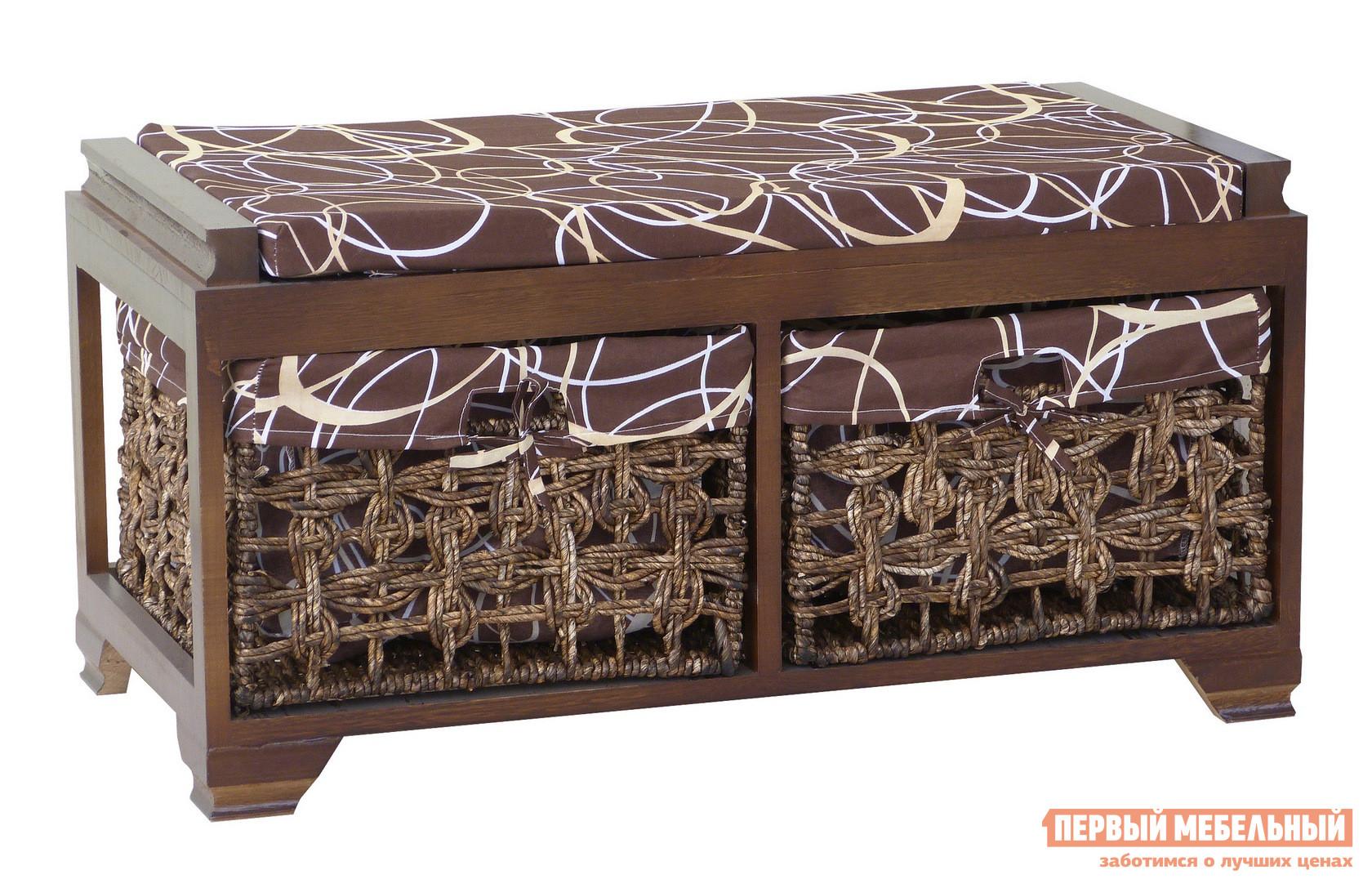 Банкетка Ariva ARIVA-8940Z (54405) КоричневыйБанкетки<br>Габаритные размеры ВхШхГ 420x800x410 мм. Небольшая банкетка в темных тонах — уютный аксессуар в спальню или прихожую.  Прекрасный вариант для квартиры или загородного дома. В комплект банкетки входят две плетеные корзины для хранения самых разных мелочей.  На сидении есть мягкий элемент размером 800 х 410 мм. Каркас банкетки выполняется из массива павловнии и покрыт лаком.  Корзины сплетены из кукурузных жгутов.  Обивка на сидении и чехлы в корзинах — ткань (80% хлопок, 20% полиэстер). Максимально допустимая нагрузка на изделие составляет 100 кг.<br><br>Цвет: Коричневый<br>Цвет: Коричневый<br>Цвет: Коричневое дерево<br>Высота мм: 420<br>Ширина мм: 800<br>Глубина мм: 410<br>Кол-во упаковок: 1<br>Форма поставки: В собранном виде<br>Срок гарантии: 1 год<br>Тип: Плетеная, Скамья<br>Назначение: Для спальни, В прихожую, Для гостиной<br>Материал: из ткани, Из натурального дерева, из массива дерева<br>Форма: Прямоугольные<br>Размер: Большие, Двухместные<br>Высота: Низкие<br>Глубина: Глубокие<br>Особенности: С сиденьем, С ящиками, С мягким сиденьем, На ножках, С рисунком, Без спинки, С корзинами<br>Стиль: Прованс