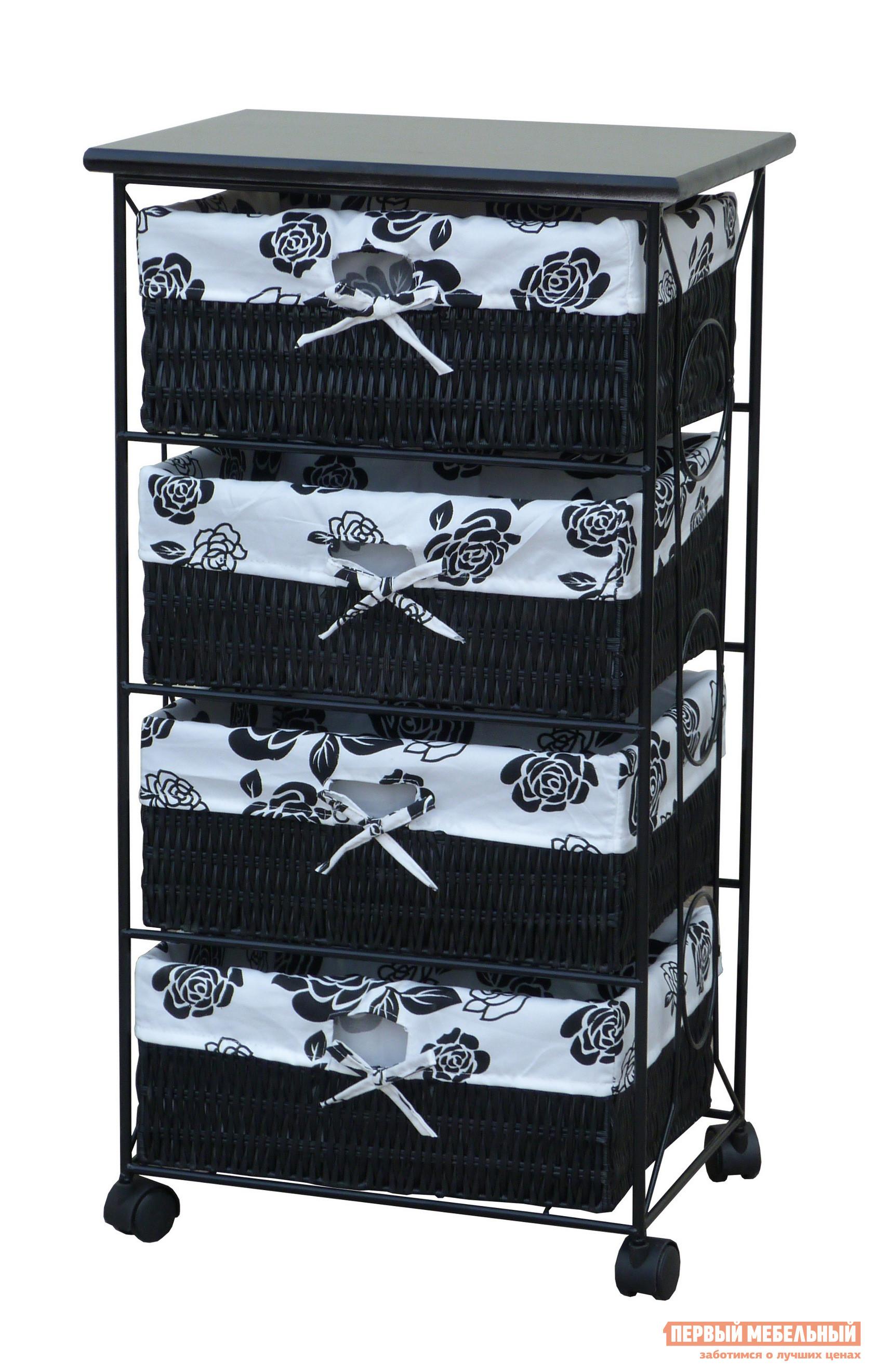 Этажерка Ariva ARIVA-490 (48820) Black and WhiteЭтажерки<br>Габаритные размеры ВхШхГ 795x430x320 мм. Высокий мобильный стеллаж — удобный элемент хранения в прихожей, в спальне, в гардеробной или в ванной комнате.  Модель имеет четыре съемные корзины с тканевыми чехлами.  На столешнице удобно держать под рукой необходимые вещи.  Стеллаж оборудован колесиками с фиксаторами для удобного перемещения по комнате. Корзины выполняются из искусственного ротанга, чехлы — ткань (80% хлопок, 20% полиэстер).  Металлический каркас окрашен и покрыт лаком.  Столешница изготавливается из массива павловнии. Изделие поставляется в собранном виде.<br><br>Цвет: Black and White<br>Цвет: Белый<br>Цвет: Черный<br>Высота мм: 795<br>Ширина мм: 430<br>Глубина мм: 320<br>Кол-во упаковок: None<br>Форма поставки: В собранном виде<br>Тип: Прямые, Плетеная<br>Материал: Деревянные, из натурального дерева<br>Порода дерева: из павловнии<br>Размер: Узкие<br>Особенности: Дешевые