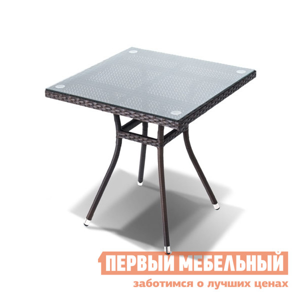 Плетеный стол со стеклянной столешницей Кватросис Корто YH-S4716W плетеный стол кватросис бергамо yh s4684p 2