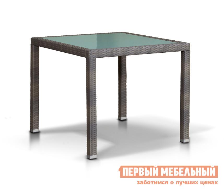 Плетеный стол со стеклянной столешницей Кватросис Бари 630673